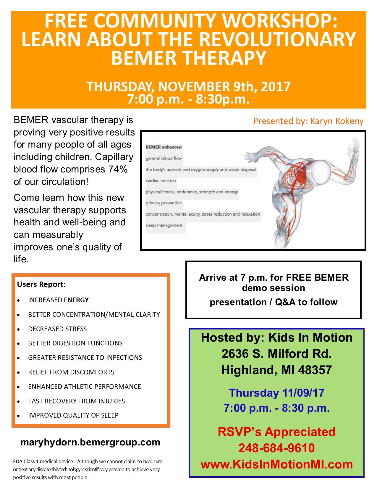 BEMER Workshop flyer Nov  9 2017 - Kids In Motion